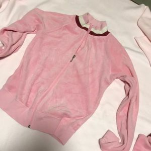 Juicy Couture pink velour track jacket and skirt